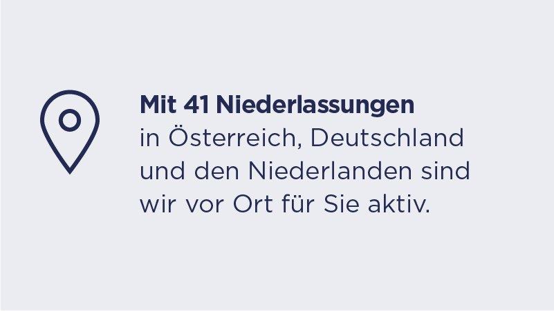 Key Facts - Mit 41 Niederlassungen in Österreich. Deutschland und den Niederlanden sind wir vor Ort für Sie aktiv.