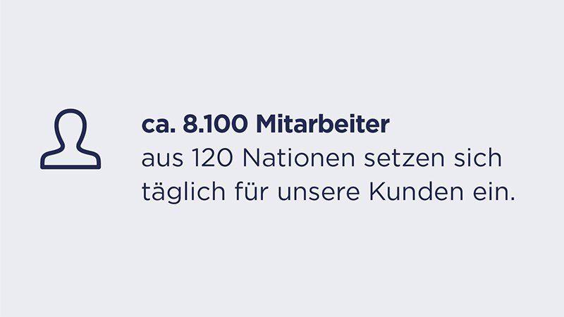 Key Facts - ca. 8.100 Mitarbeiter aus 120 Nationen setzen sich täglich für unsere Kunden ein.